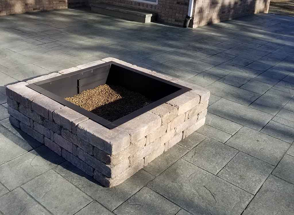 Location: Carmel, Indiana; Category: Patio; Concrete Color: Shadow Slate;  Release Color: Slate Gray; Square Feet: 700; Stamp: Majestic Ashlar Slate  ...